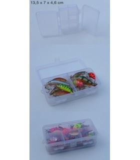 Kahepoolne läbipaistev karp 13,5 x 7 x 4,6 cm