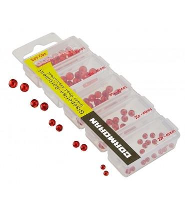 Punaste klaaspärlite sortiment